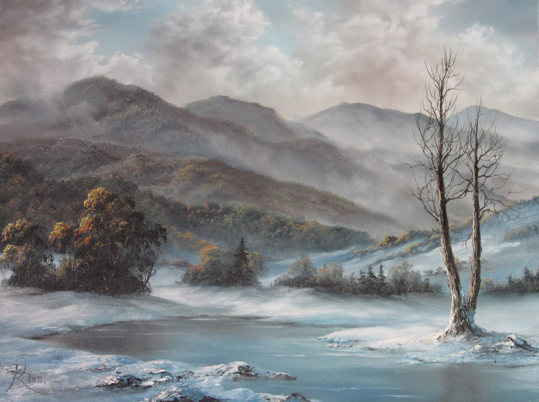 Landscape winter scene painting oil