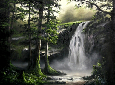 kevin hill painting waterfall