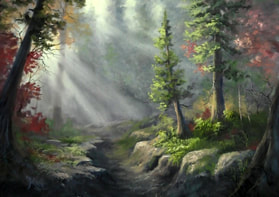 forest scene landscape artwork in oil