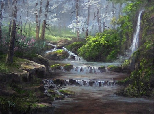 misty forest creek oil painting