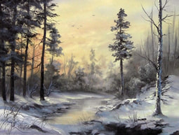 winter christmas landscape in oils