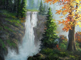 Waterfall landscape Painting in oil