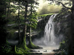 waterfall using oil paint