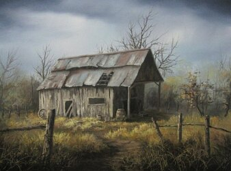 Kevin Hill A Misty Barn Painting
