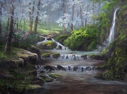 Forest Landscape painting in oils