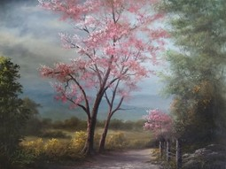 pink tree painting oils