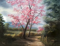 Scenic Tree Road Oil Painting