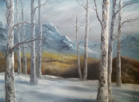 Birch tree painting lesson